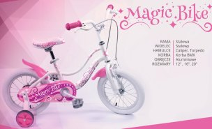 ROWER  16'' JUNIOR ROCK KIDS MAGIC BIKE RÓŻOWY