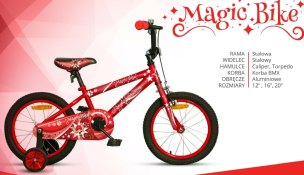 ROWER  16'' JUNIOR ROCK KIDS MAGIC BIKE CZERWONY