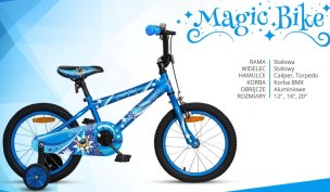 ROWER  16'' JUNIOR ROCK KIDS MAGIC BIKE NIEBIESKI